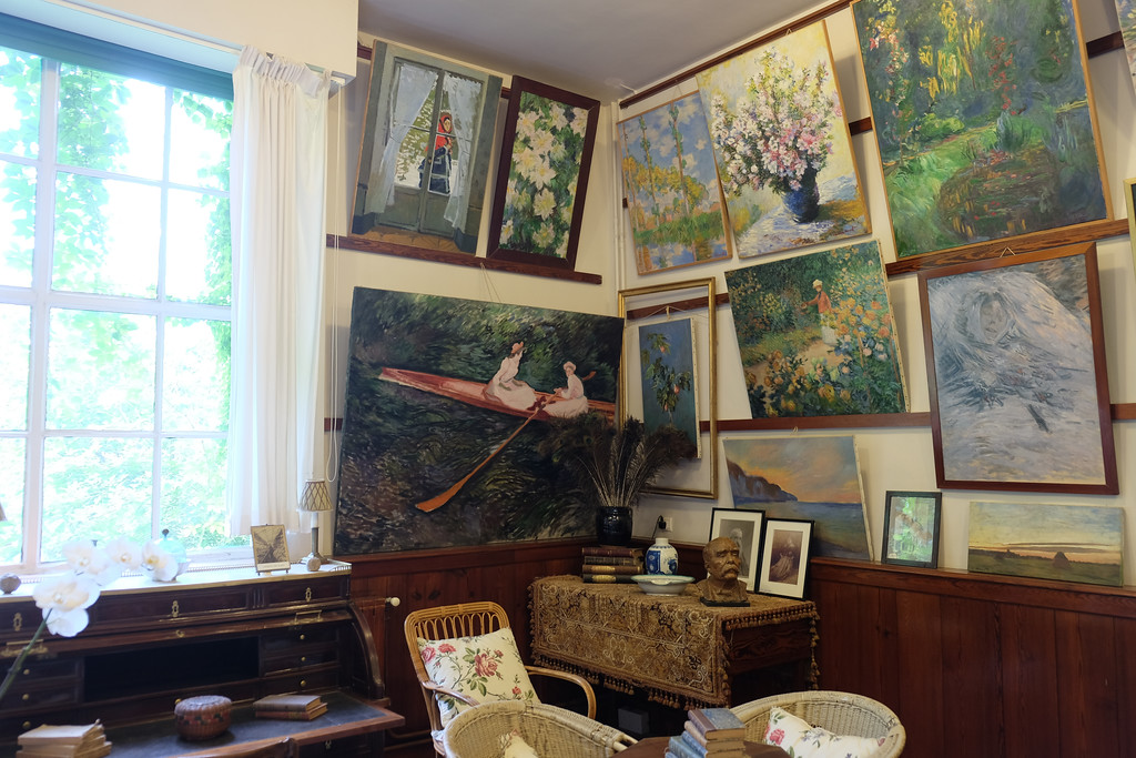 . Artist Claude Monet\'s studio in his house in Giverny, France. Monet lived here from 1883 until his death in 1926. Many of his paintings were painted in Giverny, the village where his home is located, especially in his own gardens.  Photo by Shmuel Thaler