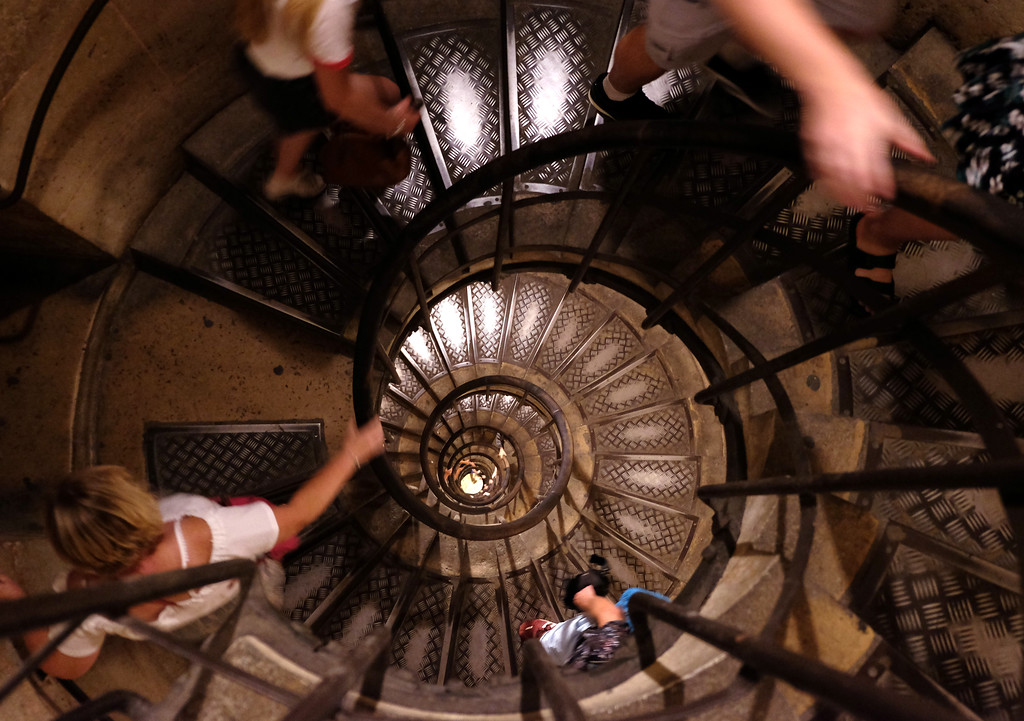 . Spiral staircase heading up to the top of the Arc de Triomphe Photo by Shmuel Thaler