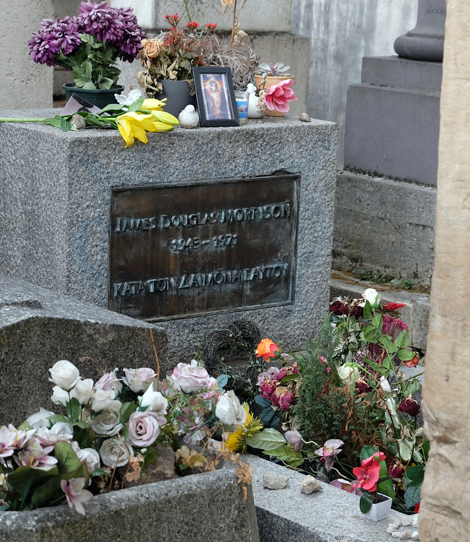 . The Doors\' Jim Morrison\'s grave at Montmartre Cemetery in Paris. Photo by Shmuel Thaler
