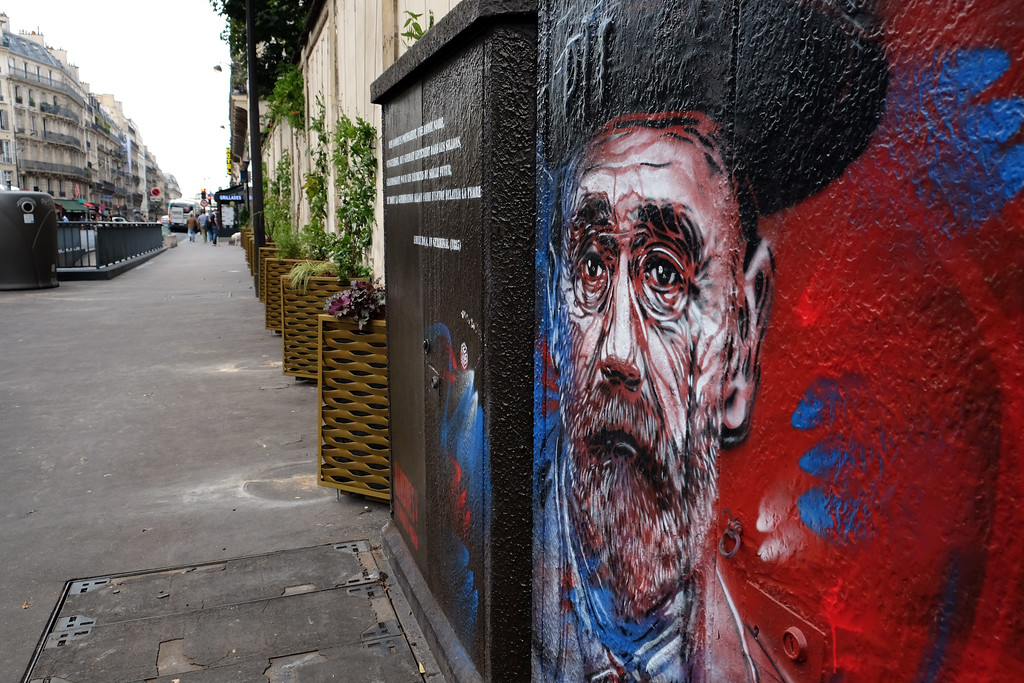 . Portrait of Alexandre Dumas by graffiti artist C215 on Rue Pierre Nicole in Paris. Photo by Shmuel Thaler -- Santa Cruz Sentinel