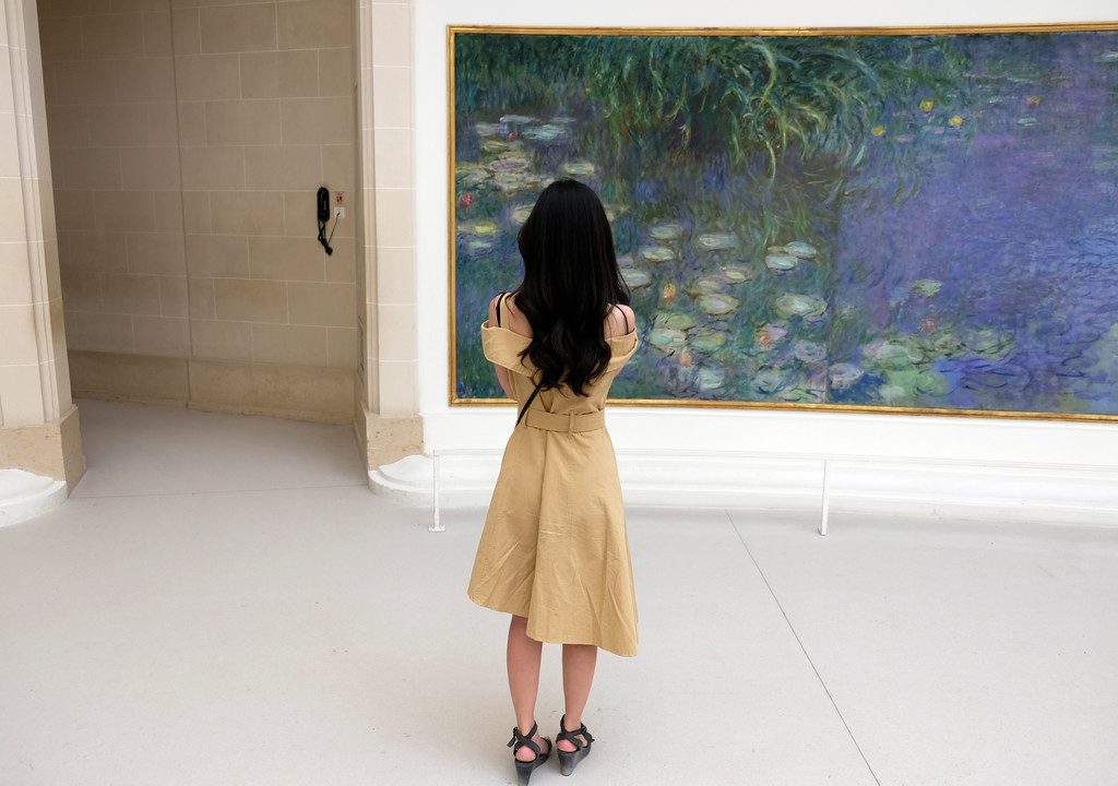 . A cycle of Monet\'s water-lily paintings, known as the Nymphéas,at the Musée de l\'Orangerie.  Offered to the French State by the painter Claude Monet on the day that followed the Armistice of November 11, 1918 as a symbol for peace, the Water Lilies are installed according to plan at the Orangerie Museum in 1927, a few months after his death. Photo by Shmuel Thaler