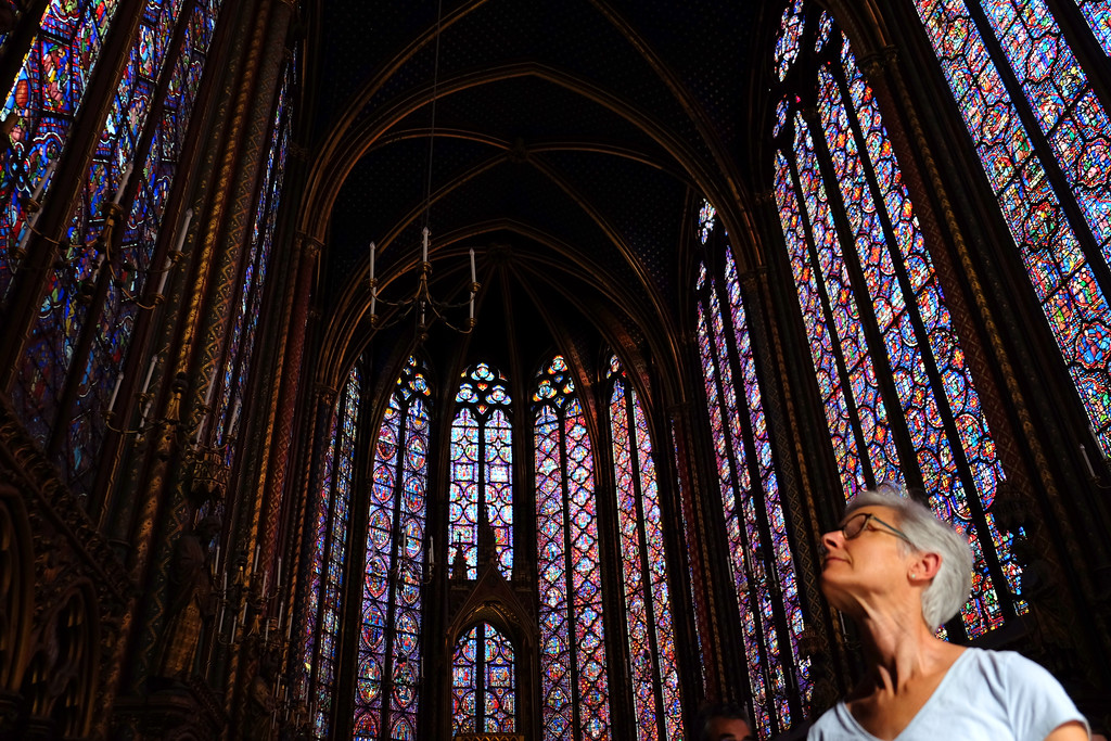 . Visiting the Sainte-Chapelle with my wife Kathy Cytron. Sainte-Chapelle is a royal chapel in the Gothic style, within the medieval Palais de la Cité, the residence of the Kings of France until the 14th century, on the �le de la Cité in the River Seine in Paris. Photo by Shmuel Thaler