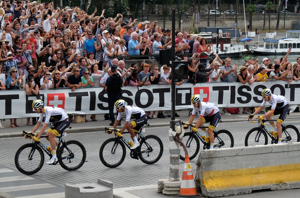 . Tour de France riders race along Quai François Mitterrand in Paris during the final stage of the bike race. Photo by Shmuel Thaler