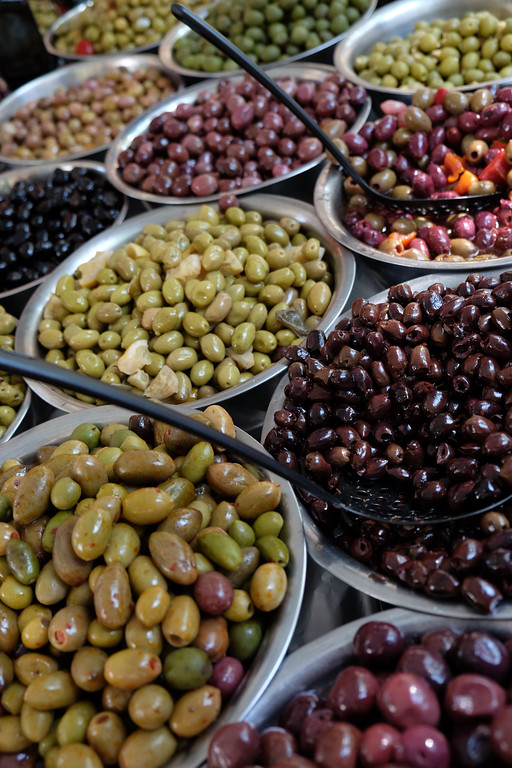 . Olive selection at the outdoor market on Avenue du President Wilson in Paris, France Photo by Shmuel Thaler