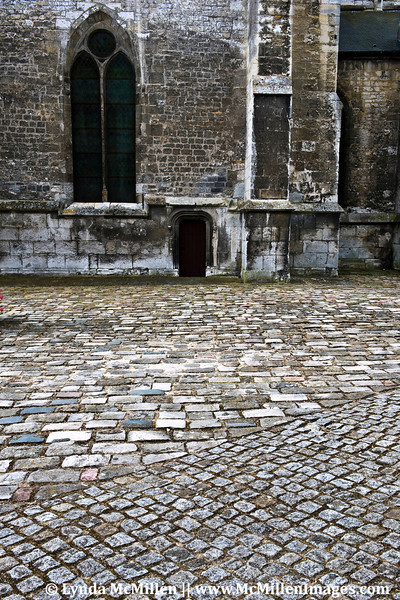 Medieval stone roads and structures in Old Town Les Andelys.