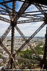 "Looking through the Eiffel Tower ""leg""."