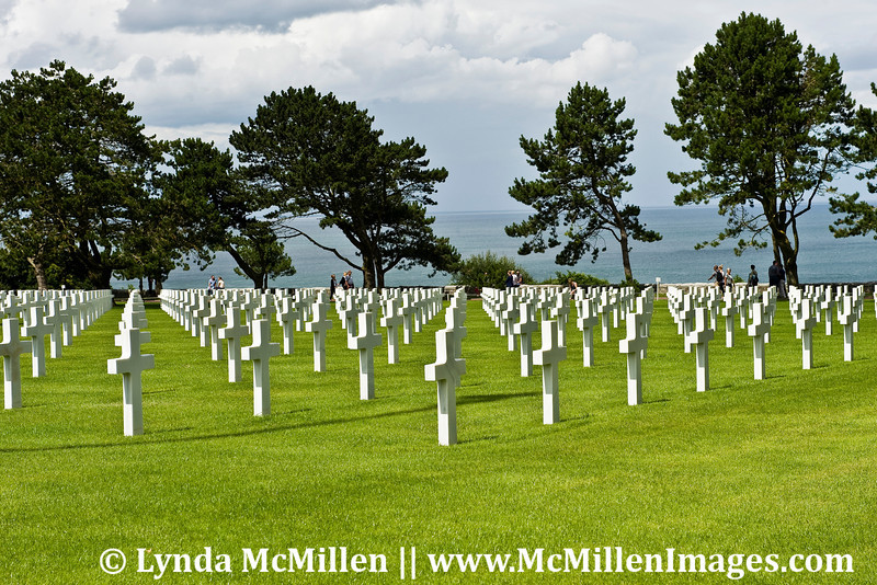 Graves of 9,387 soldiers above Normandy Beaches, France.