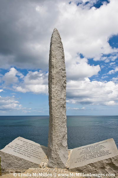 Monument honoring those who fought Battle at Pointe du Hoc.