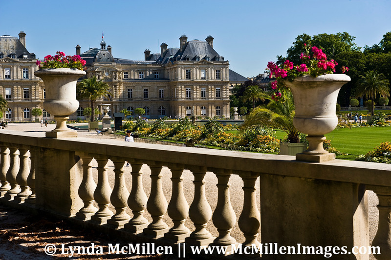 Luxemburg Gardens and The Senate Building, meeting place for France's House of Parliament.