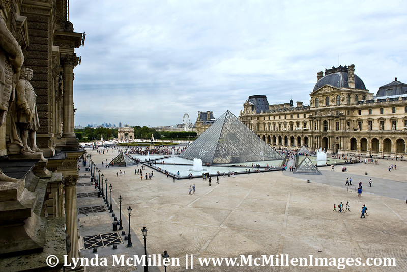 Louvre's pyramid courtyard as seen from Louvre's 2nd story.