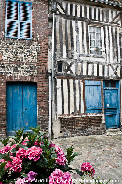 500 year old half-timbered Honfleur old town.