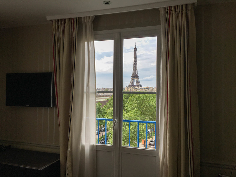 View from my room at Hotel Duquesne.  Stayed there the first night.  Always wanted to fall asleep to a glowing Eiffel Tower and wake up to sunrise and the Eiffel out my window.