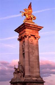 Paris evening along the Seine - Pylon on the Pont Alexandre III