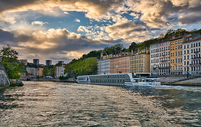 Clouds open over the Saône River