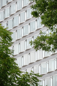 A facade of an office building in Paris