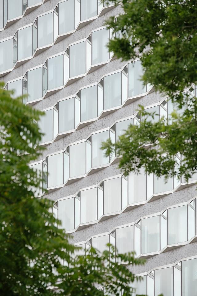A facade of an office building in Paris