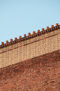 Brick wall and chimneys in Paris
