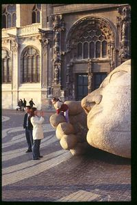 Family and sculpture in front of St Eustache Church