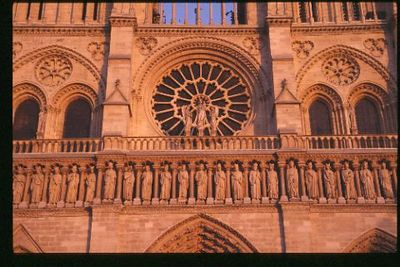 Notre Dame Cathedral, west front portico close up at dusk
