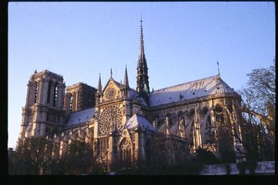 Notre Dame Cathedral, classic view from the Seine at twilight