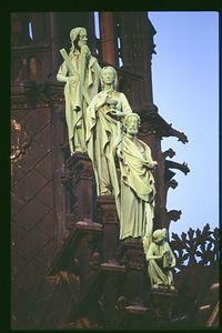 Notre Dame Cathedral, statues on central spire from below with 500mm lense