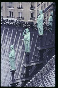 Statues on the central spire from the steeple