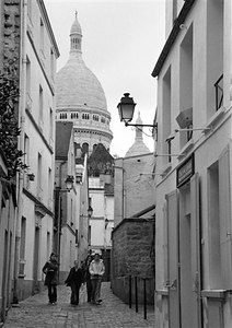 Montmartre street with Sacre Coeur