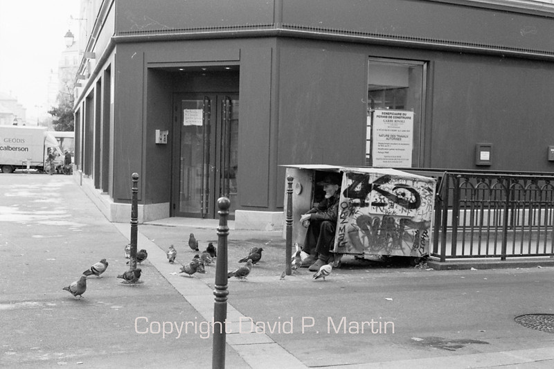 Homelessness and pigeons; universal problems.