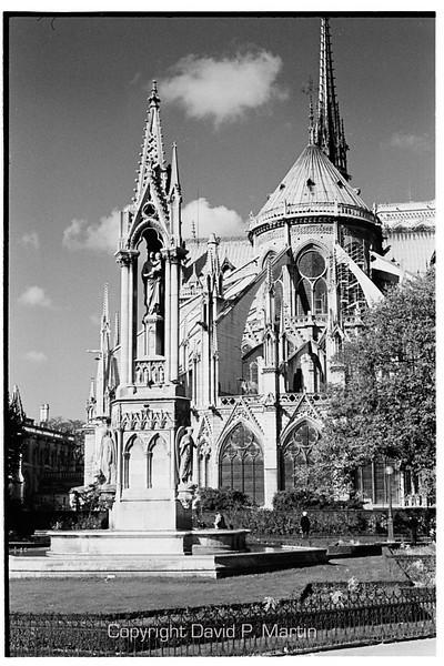 Behind the cathedral Notre Dame de Paris.