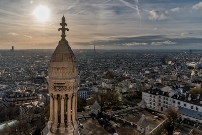 View of Paris skyline from the dome of Sacre-Coeur de Montmartre.