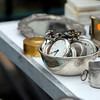 Silver bowl of antique pocket watches, Clignancourt Flea Market, Paris, 2013.