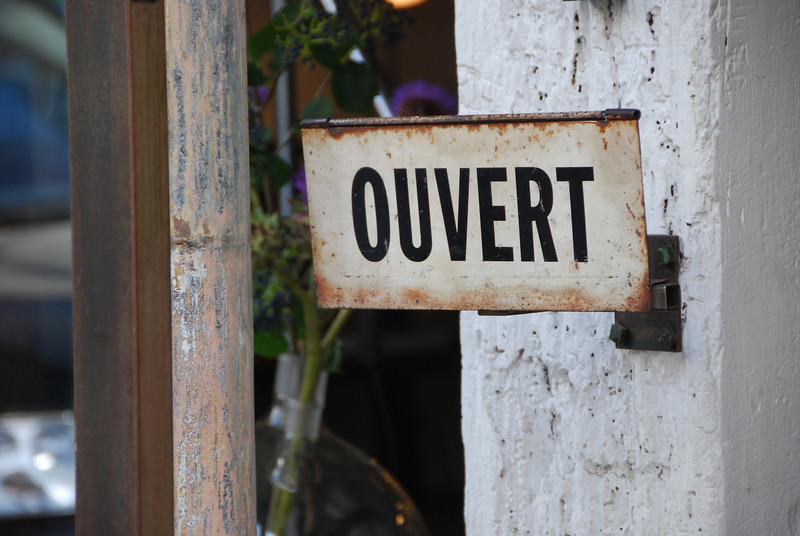 Open sign, Marais, Paris, 2013.
