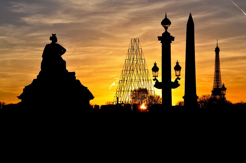 Sunset at the Place de la Concorde. 2016.