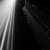 """La tour Montparnasse with the light installation by Ryoji Ikeda for the """"Nuit Blanche"""" artfestival 2008."""