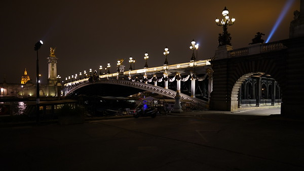 Night falling over Pont Alexandre III in Paris