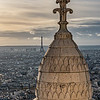 View of Eiffel Tower from the dome at Basilique du Sacre-Coeur de Montmartre.
