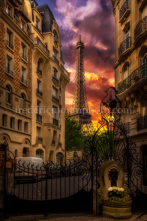 Colors of sunset on the Eiffel Tower in Paris