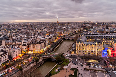 View of Paris skyline from the top of Notre Dame Cathedral.