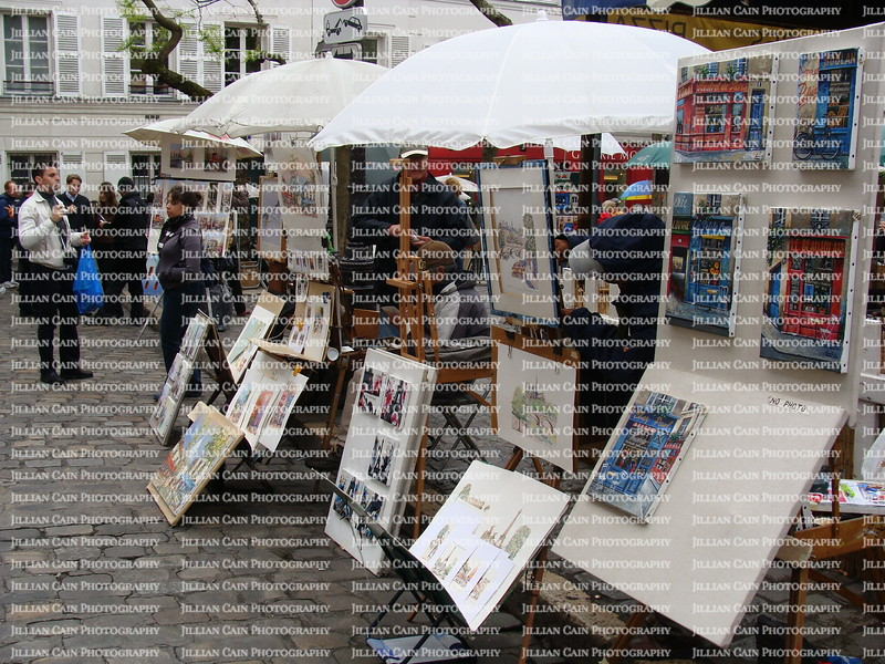 Vendors selling art on Montmartre