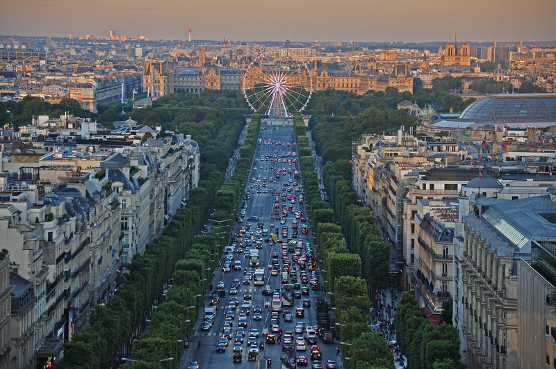 The Avenue des Champs-Élysées at Sunset from atop the Arc De Triomphe. 2016.