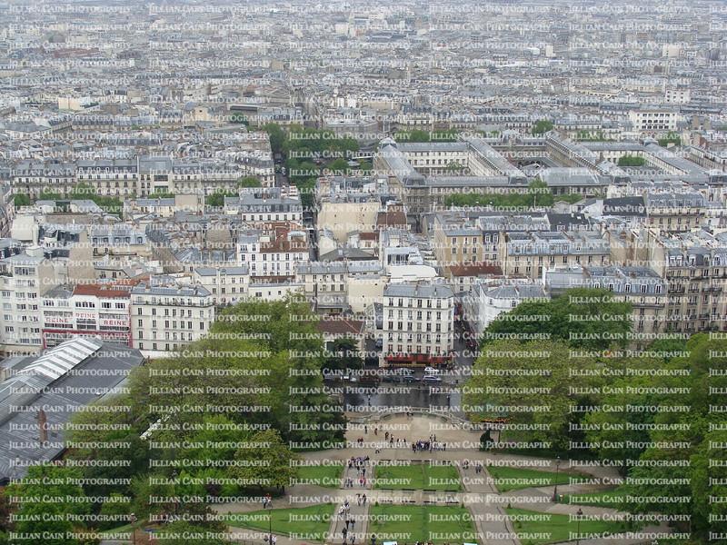 Aerial view looking down from Sacré-Cœur
