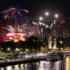 Fireworks on the Eiffel tower at Paris for the Feasts of July 14, 2019