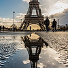 Reflection of Eiffel Tower.