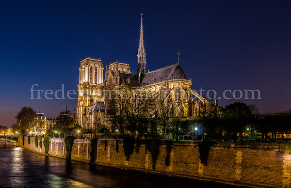 Notre-Dame de Paris by night in B/W