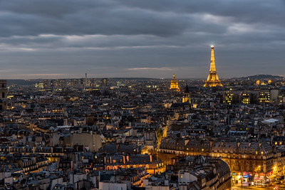 View of Eiffel Tower at dusk.