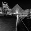 The Louvre pyramid by night in B/W II