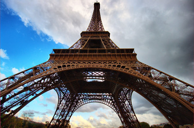 Wide angle view of the Eiffel Tower