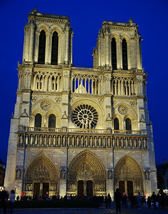 The front of Notre Dame faces west and it is lit up by large flood lights.  This photo was taken late in the day at dusk.