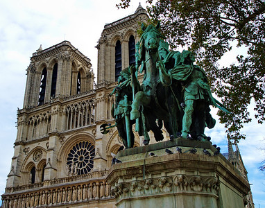 Statue of Charlemagne (Charles the Great) sits in the west front of the Cathedral