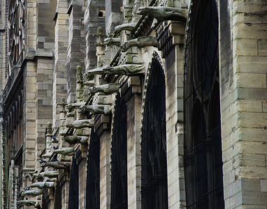 Gargoyles drain the water away from the roof of the cathedral.